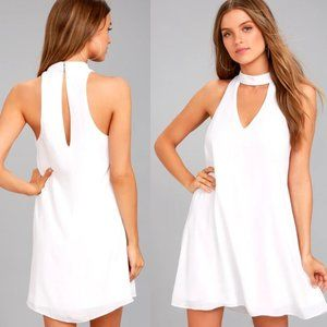 Lulus Groove Thing White Swing Dress Size Small